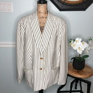 Lauren Ralph Lauren Winter Cream Pinstripe Jacket